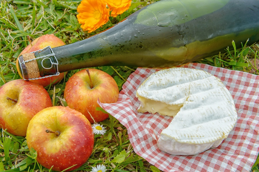 apples with cider and camembert in the grass